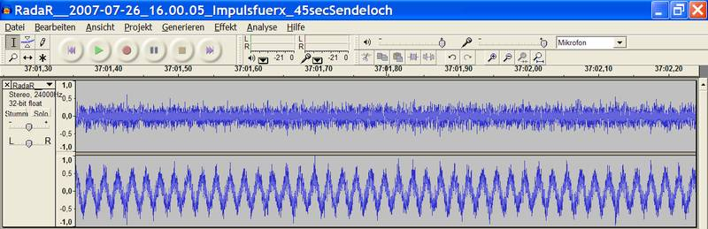 Screenshot des Audiofiles zum besprochenen Sendeloch