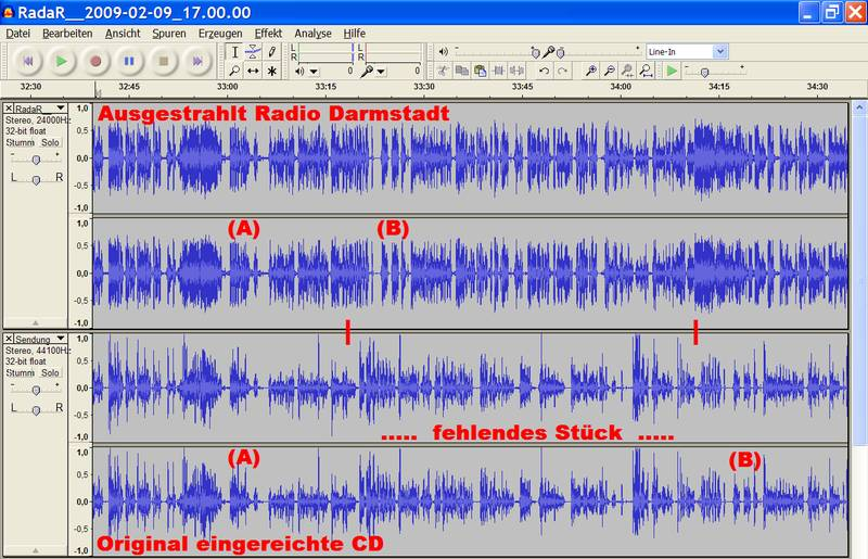 Screenshot der Audiodateien